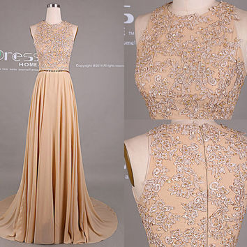 Sweet 16 Champagne Beading lace Long Prom Dress/Sexy Champagne Lace Prom Dress/Prom Dress Long/Prom Dresses 2015/Prom Dress Vintage DH412