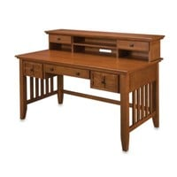Home Styles Arts & Crafts Executive Desk w/Hutch in Cottage Oak