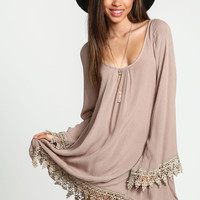 Taupe Crochet Bell Sleeves Caftan Dress