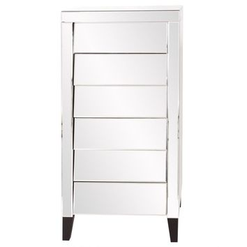 Mirrored 6 Drawer Tall Dresser
