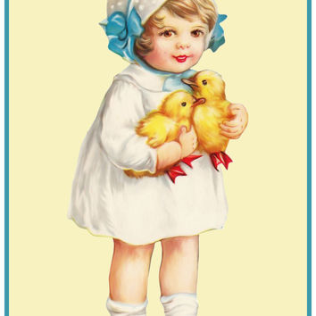Vintage Easter Young Girl Blue Bows and Baby Chicks Counted Cross Stitch or Counted Needlepoint Pattern