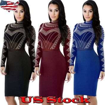 US Women Sexy Mesh Long Sleeve Bodycon Casual Party Evening Cocktail Mini Dress