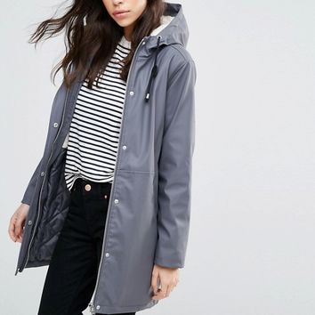 ASOS Premium Rain Mac With Borg Liner at asos.com