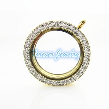 New style 34mm stainless steel floating locket charms necklace gold round magnetic with crystal living locket pendant
