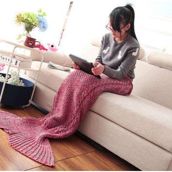2 Styles mermaid cotton knitted blanket soft and comfortable sofa bed with warm fleece blanket for lovely beautiful girl gifts