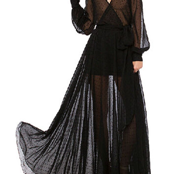 Black V- Neck Long Sleeve Sheer Chiffon Maxi Dress