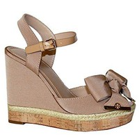 Tory Burch Women's Penny 120mm Sandal Wedges Fabric Shoes