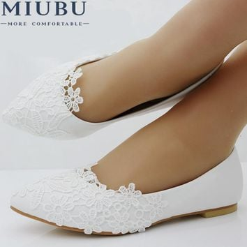 MIUBU Ballet Flats White Lace Wedding Shoes Flat Heel Casual Sho df114545e96f