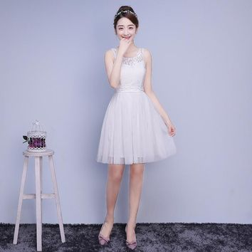 ZXC2BS#Model show 2017 new spring bridesmaids dresses short wedding bridesmaid dress sisters graduation toastp prom dress White