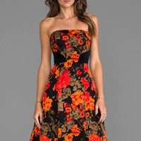 Tracy Reese Chic Strapless Frock in Scarlet Floral