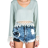 Crochet Open Back Bell Sleeve Top - Sage