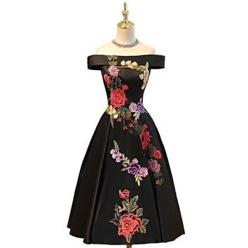 Off the Shoulder Tea Length Floral Applique Women's Dress 11 Colors