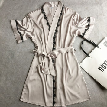 Satin Lace Short Robe Solid Kimono Bathrobe Gown