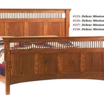 Pioneer Mission OAK SPINDLED PANEL QUEEN BED AM215