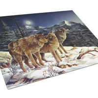 Wolf Wolves Crying at The Moon Glass Cutting Board Large PTW2041LCB