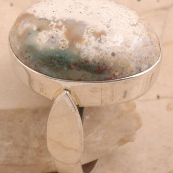 One-of-a-Kind Ring in 925 Sterling Silver Ocean Jasper