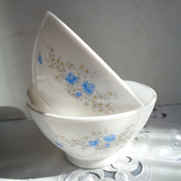 Two French Vintage Arcopal Bowls . Café au Lait Bowls . Blue Floral Design . Milk Glass Bowls .