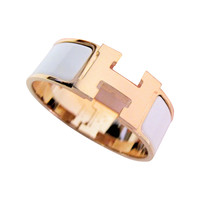 Hermes White with Rose Gold Clic Clac Enamel Bracelet PM Wide Dreamy!