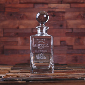 Personalized Whiskey Decanter with Global Bottle Lid – E