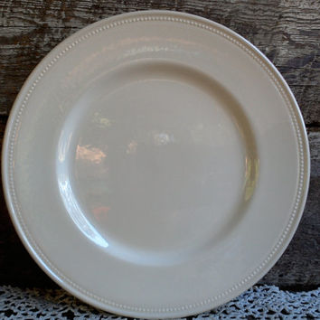 "WHITE LARGE DINNER Plate,""Charger Plate"", Royal Stafford, Beaded Edge, Stunning, 11"", Tableware, French Country, Farmhouse Decor, Wall Decor"