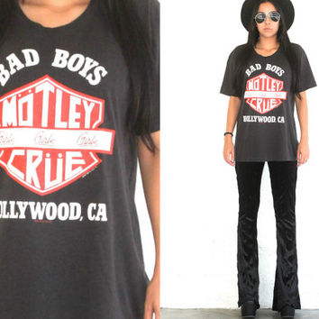 Vintage 80s Band Tee // 1987 Motley Crue Girls Girls Girls T Shirt // World Tour // Hollywood // XS Extra Small / Small / Medium