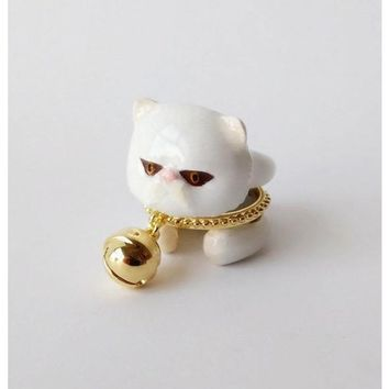 Mary Lou White Persian Cat with Bell Trio Ring