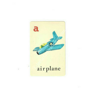 Vintage Alphabet Card, Vintage Airplane Illustration, Illustrated ABC Card, Educational Flash Cards, Paper Ephemera, Scrapbook, Boy Nursery