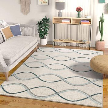 7028 Blue Gray Abstract Contemporary Area Rugs