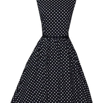 Black Polka Dot Sleeveless Belted A-Line Pleated Mini Dress