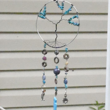 TREE OF LIFE Wire Wrap Windchime (wind chime) Garden and Home Decor Yard Art Turquoise Southwest