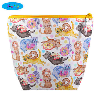 NEW! Cats Knitting Bag | Donut Project Bag |  Doughnut Knitting Project Bag | Medium Wedge Bag