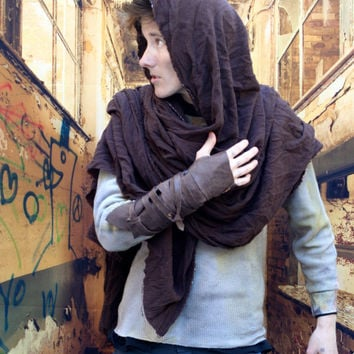 Post Apocalyptic Brown Wrap Cloak, Single Leather Vambrace, Lightweight Cotton Wrap Shawl, Single Bracer, Brown Leather