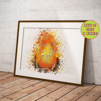 Calcifer, Howl's Moving Castle, Anime Art, Studio Ghibli Poster, Anime Poster, Anime Watercolor, Manga Art OC-931