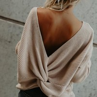 Heart To Heart Twist Back Cotton Sweater - Sand