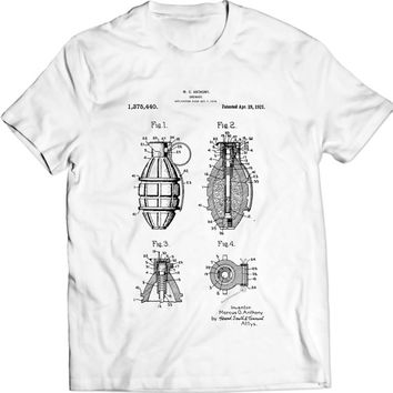 Grenade T-Shirt Patent Design Anthony Marcus Mens Gift Idea