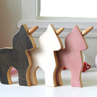 Wooden unicorn, wooden toy, little pony, eco-friendly toy, three unicorns kit