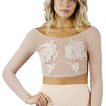 Nari Embellished Mesh Crop Top