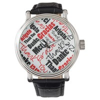Red and Black Thank You Word Cloud Watch
