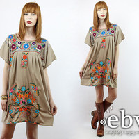 Taupe Mexican Dress Embroidered Dress Hippie Dress Hippy Dress Boho Dress Festival Dress Vintage 70s Embroidered Mini Dress L XL