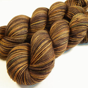 Hand Dyed Yarn - Sport Weight Superwash Merino Wool Yarn - Chestnut Multi - Knitting Yarn, Sock Yarn, Wool Yarn, Earthtones, Brown