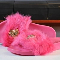 Versace Fashion Solid Color Fur Slipper Sandals Shoes