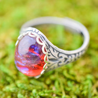 Dragons Breath Ring, Fire Opal Ring, Mexican Opal Cocktail Ring, Czech Glass Opal Ring
