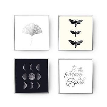 SET of 4 Prints, To The Moon Set, Minimal Art, Ginkgo Leaf, Gold Foil Print, Moon Phases, Moon Poster, Moth Print, Home Decor, Vintage Art