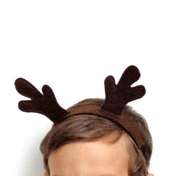 deer antler headband christmas costume felt reindeer brown woodland forest animal kids pretend play photo prop elastic head band childrens