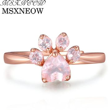 MSXNEOW Adjustable wedding Ring Animal Clam Pink Natural Gemstone Rose Quartz 925 Sterling Silver Fine Jewelry For Women LMRI027