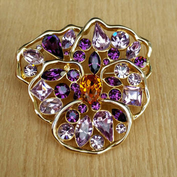 Nolan Miller Purple Wild Pansy Flower Brooch - Stunning - Easter - Spring - Mother's Day - Gift
