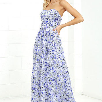All Afloat Royal Blue Floral Print Strapless Maxi Dress