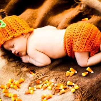 Pumpkin Baby Crochet Hat and Diaper Cover Set