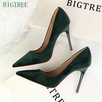 BIGTREE 10.5 CM Classics Women Shallow Office High-heeled shoe New Arrival Concise Solid Flock Pointed Toe Women Pumps Fashion