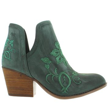 Musse & Cloud Ambar - Dusty Blue Leather Embroidered Western Ankle Boot